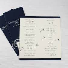 Printed Wedding Programs Navy Blue Dandelion Wedding Programs Be My Guest