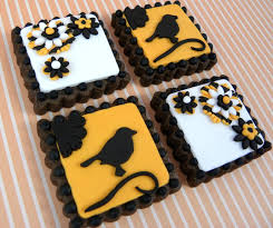 bubble and sweet silhouette bird halloween cookies square of course