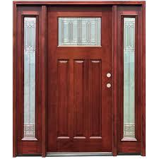 craftsman double wood door with sidelights solid oak front doors