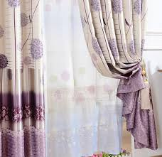 Thick Purple Curtains Dandelion Floral Pattern Purple Polyester Thick Blackout Thermal