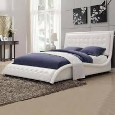 Leather Headboard Queen Bed by Coaster Contemporary Tully White Black Leather Like Vinyl