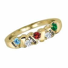 family birthstone rings mothers birthstone ring in 10k white or yellow gold 3 names and