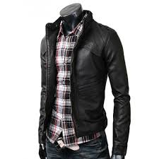 mens moto jacket strap mens slim fit jacket black leather biker jacket