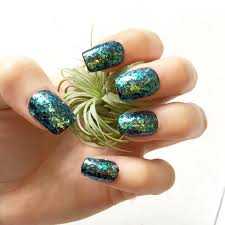 mermaid iridescent glitter fake nails glue on gel nails luxe