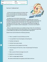 fast food reading comprehension worksheet crafting pinterest