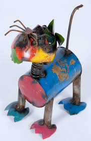 recycled metal cat lawn ornament yard decor