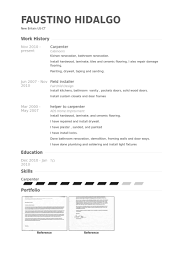 Sample Resume With Work Experience by Carpenter Resume Samples Visualcv Resume Samples Database