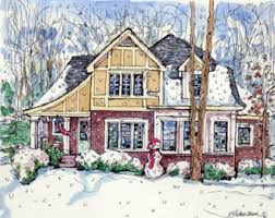 original custom pen ink and watercolor house by houseportraits