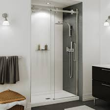 halo 60 clear glass brushed nickel shower door by maax bargain