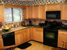 kitchens with black appliances and oak cabinets kitchen tile backsplash ideas with oak cabinets coryc me