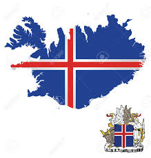 Flag Iceland Flag And Coat Of Arms Of Iceland Overlaid On Outline Map Isolated