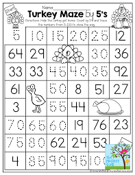 count by 5 u0027s worksheet by tracing the path from the turkey to the