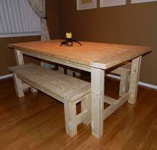 unfinished dining table with bench and yellow stained wall