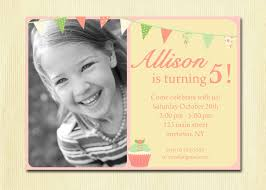 girls birthday invitation bunting cupcake diy photo printable