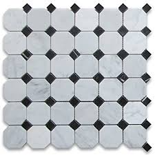 carrara white marble octagon mosaic tile black