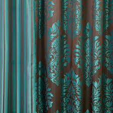 Turquoise And Brown Curtains Damask Curtains Free Home Decor Techhungry Us
