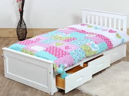 White Wood Single Bed Frame Beds With Storage White Color