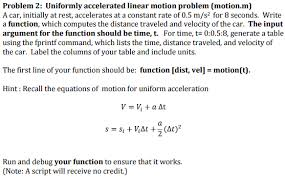 problem 2 uniformly accelerated linear motion pro chegg com
