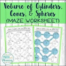 volume of cylinders cones and spheres maze worksheet ccss 8 g c 9