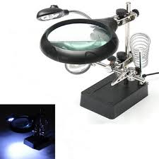 magnifier with led light 5 led light magnifier magnifying glass helping hand soldering stand