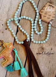leather bead necklace images Mint bead necklace with leather tassel jpg