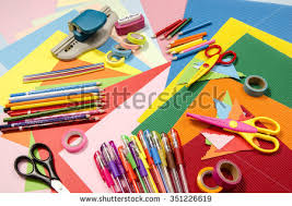 arts craft supplies corrugated color paper stock photo 351226619