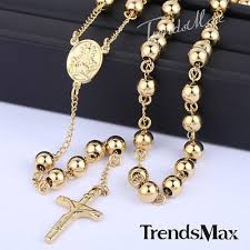 bead cross pendant necklace images Mens stainless steel 4 10mm gold silver bead cross pendant rosary jpg