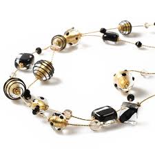 long gold beads necklace images Mira long gold black beaded necklace jpg