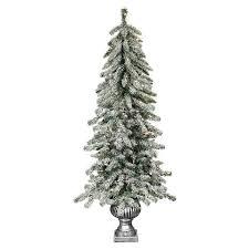 4 ft pre lit flocked alberta spruce porch pot artificial tree