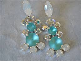 blue chandelier earrings tropical blue opal statement necklace the