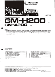 pioneer stereo amplifier gm 4200 user guide manualsonline com