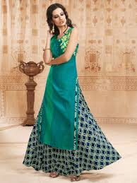 color designer payal stitched straight cut skirt suit with sleeveless in green