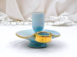 vintage mid century pale blue and gold glazed ceramic porcelain vintage mid century pale blue and gold glazed ceramic porcelain candle holder retro home