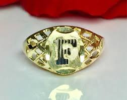 Gold Monogram Rings Vintage Gold Initial Ring Etsy