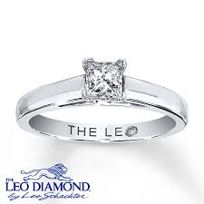 leo engagement rings leo solitaire 1 2 ct princess cut 14k white gold ring