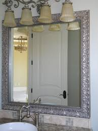 bathroom silver wall mirror with white wood framed mirror also