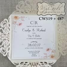 wedding invitations new zealand lasercut wedding invitation cover pastel flowers cw519 487