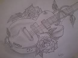 pencil sketch of a guitar desipainters com