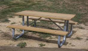 Commercial Picnic Tables And Benches 12 Ft Rectangular Wooden Picnic Table With Welded Galvanized Steel