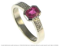 art deco 18ct white gold and scissor cut ruby engagement ring with
