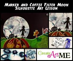 marker and coffee filter moon silhouette art lesson create art