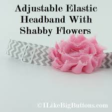 Shabby Flowers I Like Big Buttons Adjustable Elastic Headband With Interchangeable S