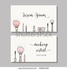 makeup artist business card vector template with makeup items pattern brush pencil eyeshadow lipstick and mascara stock vector from the largest