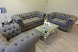 Chesterfield Sofa Linen Grey Linen Fabric Chesterfield Sofas 1 2 3 Seater Settee Suite Arm