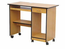 light brown particle board movable computer table with shelves and