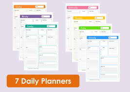 Daily Planners Templates Printable Daily Planners Time Management 7 Sheets