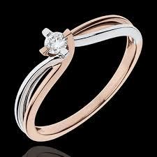 18 carat diamond ring ring precious nest whiet gold pink gold 0 11 carat