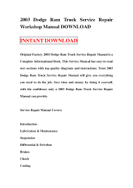 2004 dodge ram 1500 service manual 2003 dodge ram truck service repair workshop manual download