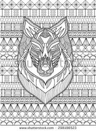 detailed drawing wolf coloring stock vector 298186523