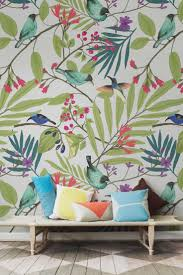 Wallpaper With Birds Illustrated Birds And Berries Wall Mural Exotic Birds Wall